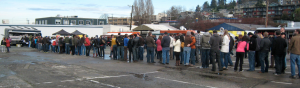 "Seattle foodies eagerly line up for gourmet vittles from ""America's Sauciest Food Truck"" Marination Mobile"