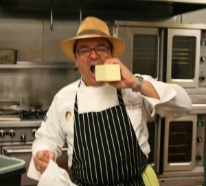 Chef Thierry takes a break to chew on some butter. It is the French way.