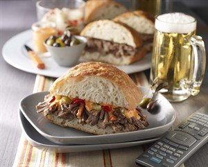 Spicy Braised Beef Sandwiches. Also perfect for couch-gating. Click for recipe.