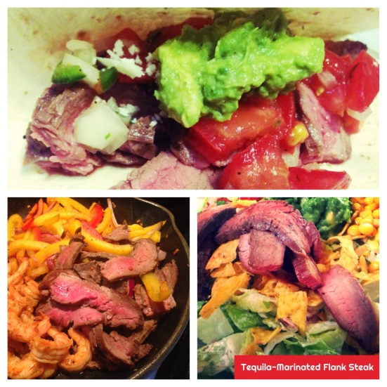 Flank steak three ways - tacos, fajitas, and salad. Click for recipe.