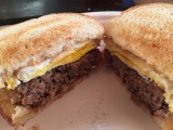 Bacon wrapped meatloaf and fried eggsandwich